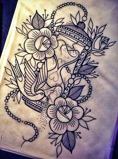 Disegno per tatuaggio clessidra