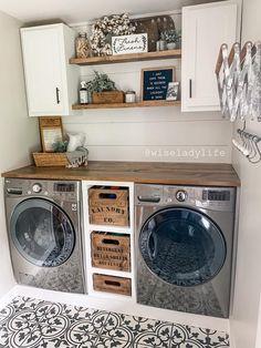 Rustic Laundry Rooms, Mudroom Laundry Room, Laundry Room Remodel, Farmhouse Laundry Room, Laundry Room Organization, Laundry Room Design, Laundry In Bathroom, Laundry Area, Washroom