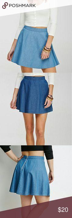Adorable F21 denim skirt Forever 21 denim skater skirt. Thin material, zipper in the back. Never worn. *Open to Offers* Forever 21 Skirts