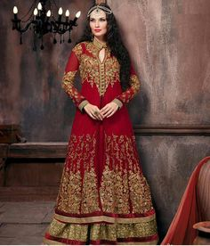 Naksh - Unique Bridal Red And Gold Jacket Style Lehenga Suit Lehenga Choli, Lehenga Suit, Bollywood, Gold Jacket, Dress Robes, Indian Ethnic Wear, Jacket Style, Salwar Kameez, Indian Outfits