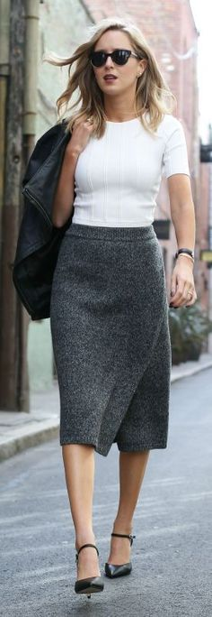 knit pencil skirt, white crop top, leather jacket, black sling back pointy toe pumps, watch + sunglasses {club monaco, alice + olivia, whbm, daniel wellington}
