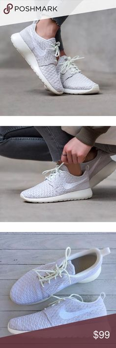 low priced 41365 bbc19 Women s Nike Roshe Run Flyknit Sail White Sneakers Women s Nike Roshe Run  Flyknit Sail White Sneakers. Flyknit material enable the Roshe to become  more ...