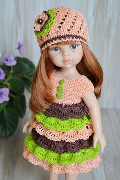 Free crochet patterns and video tutorials: Amazing crochet dress for dolls ideas Crochet Wedding Dress Pattern, Crochet Wedding Dresses, Crochet Summer Dresses, Crochet Doll Dress, Crochet Barbie Clothes, Baby Doll Clothes, Knitted Dolls, Doll Clothes Patterns, Baby Dresses