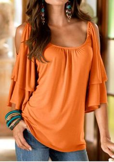 Solid Layered Ruffled Off Shoulder Vogue Blouse