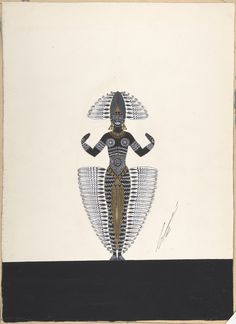 """Costume Design Outlined in Feathers for """"Ballet Africain,"""" George White's Scandals, New York"""
