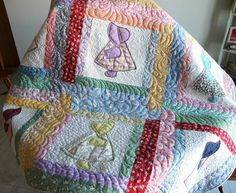 vintage sunbonnet sue quilt squares   haven't been on my machine for months with this broken arm.