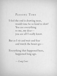 Passing Time - Lang Leav #langleav #love&misadventure