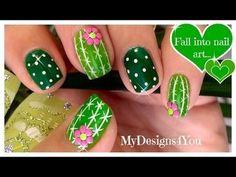 Fun Cactus Nail Art #tutorial #Video #greennails #nailart - bellashoot.com