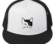 Cat Cap Truck Cap Embroidery Gift For Her Gift For Him Hat Cats Cat Hat Baseball Cap Trucker Cap  Embroidery  Classic trucker cap style with a cool fabric blend.   • 47% cotton/28% nylon/25% polyester • Structured  • Five panel • High profile • Flat bill • Snapback closure