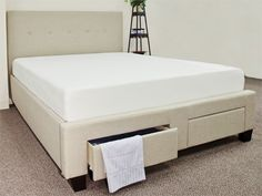 Queen Size Memory Foam Mattress and Upholstered Platform Bed w/ Storage Drawers for $ 499!