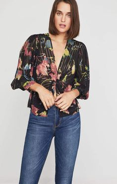 Bcbg Rustic Grove Twist Front Blouse I get commissions for purchases made through links in this post. Autumn Fashion Casual, Peplum, Kimono Top, Floral Prints, Chiffon, Stylish, Sweaters, How To Wear, Shirts