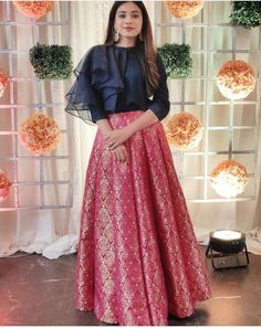 Buy Pink And Blue Color Crop Top Skirt by Akanksha Singh at Fresh Look Fashion - Indian designer outfits - Party Wear Indian Dresses, Indian Fashion Dresses, Indian Gowns Dresses, Dress Indian Style, Indian Designer Outfits, Designer Dresses, Indian Skirt And Top, Indian Crop Tops, Choli Designs