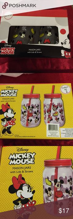 New Disney Mickey Mouse Mason Jars (2) New Disney Mickey Mouse Mason Jars with lids and straws. Please see photos for additional details Disney Other