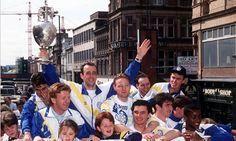 Leeds United Champions of England 1992. Open top bus through the city centre celebrations.  I was there :) less than a year old.