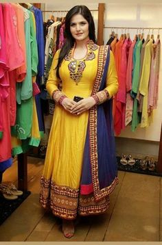 Zarine Khan Cotton Machine Work Work Yellow Semi Stitched Bollywood Designer Suit - S330