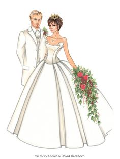 David Beckham Victoria Beckham by Jen Hancock Illustration. Wedding Illustration, Fashion Illustration Sketches, Fashion Sketches, Wedding Anniversary Cards, Wedding Cards, Wedding Couples, Wedding Bride, Wedding Attire, Victoria Beckham