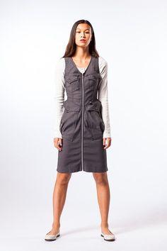 Prairie Underground Utility jean dress in wet cement.  Shop Prairie Underground spring collection http://shopadorn.com/collections/prairie-underground #PrairieUnderground #ShopAdorn