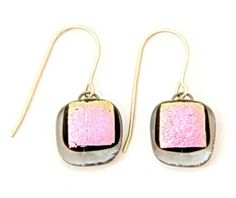 earrings with pink glass beads
