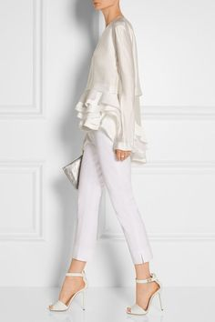 Haider Ackermann - white of course White Fashion, Look Fashion, Womens Fashion, Fashion Trends, Fashion Design, Komplette Outfits, White Outfits, Blouse En Satin, Satin Top