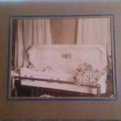 """#postmortem photograph - huge, 14""""x12"""", for sale. In great condition. There is a casket plate with the name of the deceased on the inside of the casket lid. #vintage #death #vintagephotography #funeral #oddities #curiosities I have a similar one on my own collection, but I am willing to part with this one."""
