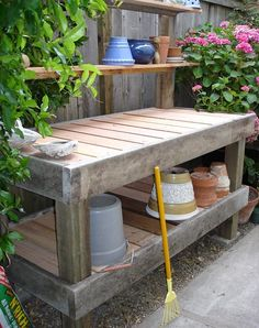 Potting Bench Ideas - Want to know how to build a potting bench? Our potting bench plan will give you a functional, beautiful garden potting bench in no time! Outdoor Potting Bench, Potting Bench Plans, Potting Tables, Potting Sheds, Rustic Potting Benches, Outdoor Storage, Potting Bench With Sink, Patio Bench, Planter Table
