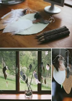 Notes with feathers - words of wisdom for mom-to-be. Little Brave Man Themed Baby Shower