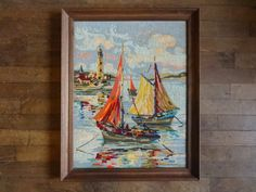 Vintage French Tapestry Cross Stitch Sailing Fishing Boats Lighthouse Reproduction Portrait Wall Hanging circa 1950-60's Purchase in store here http://www.europeanvintageemporium.com/product/vintage-french-tapestry-cross-stitch-sailing-fishing-boats-lighthouse-reproduction-portrait-wall-hanging-circa-1950-60s/