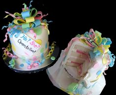 A beautiful fondant covered gender reveal cake with filling dyed to match the gender of the baby! Designed and created by Sweet Pea Cake Company in Colorado Springs.