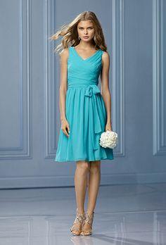 Brides: Wtoo. Style 486, Wtoo V-neck dress with waist bow in aqua, $216, available at Weddington Way