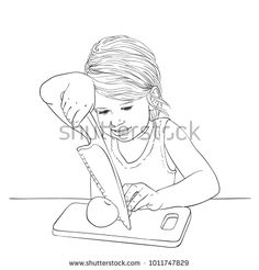 Sketch of child girl cutting fruit careful with tension, Hand drawn vector linear illustration