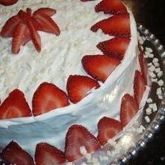 """Pudding like strawberry cake with a decadent white chocolate frosting."" - Strawberry Dream Cake I"