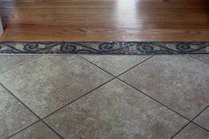 Hardwood to Tile Transition by dalene.flooring- I love mosaic! Floor Design, Tile Design, House Design, Farmhouse Flooring, Kitchen Flooring, Tile Flooring, Flooring Ideas, Tile To Wood Transition, Hardwood Tile