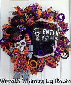 Halloween Skeleton Deco Mesh Wreath in Purple & Orange, Skeleton Decor, Fall…