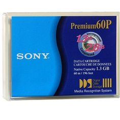 Sony DDS 1.3/2.6GB 4MM 60M Data Cart 1-Pack by Sony. $18.00. SONY DG60P DG 60P DAT 1.3 GB / 2.6 GB - DDS-1 - STORAGE MEDIA