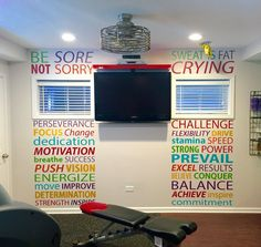 Home Gym - Home gym layout ideas Gym wall decal - http://amzn.to/2fSI5XT