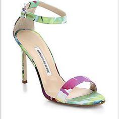 Manolo Blahnik 7.5 ankle strap sandalNew condition Manolo Blahnik - new condition size 7.5 never worn before. Beautiful shoe. Retailed price $745 Manolo Blahnik Shoes Sandals