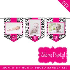 Zebra Party Photo Banner Kit (INSTANT DOWNLOAD) - Pink