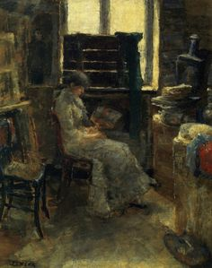 A colorist (1880). James Ensor (Belgian, 1860-1949). Oil on canvas. Musées Royaux des Beaux-Arts de Belgique. Ensor is not only an exceptionally talented colourist, but also one of the great 19th-century Realists. From 1876 to 1884 he was a radical, adherent to the plein air movement that was predominant in Europe-Realism, free from aesthetic, literary and moral conventions. His nearly pure pictorial importance appeared from the virtuoso manner in which he applied paint with the palette…