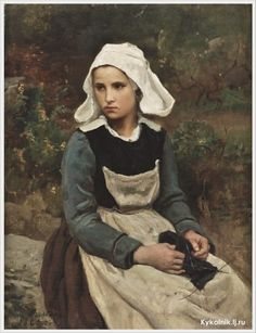 Jules Adolphe Breton (French 1827-1906), Young brittany girl knitting