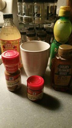 Morning detox. 1c. Warm water; 2tbls. Organic Apple Cider Vinegar; 2tbls. Lemon…