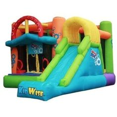 Double Shot Bounce House with Slide by KidWise 899542000629 – YardKid Inflatable Bounce House, Inflatable Bouncers, Inflatable Slide, Bounce House With Slide, Hot Wheels Party, Bouncy House, Numbers For Kids, Double Shot, Pool Floats