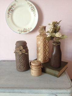 VINTAGE DISTRESSED JARS Home Decor Set by AnnmarieFamilyTree