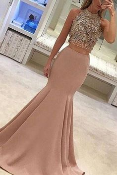 Gorgeous Two-Piece Mermaid Prom Dresses Pink Beads Sleeveless Long Evening Gowns. Gorgeous Two-Piece Mermaid Prom Dresses Pink Beads Sleeveless Long Evening Gowns… Gorgeous Two-Piece Mermaid Prom Dresses Pink Beads Sleeveless Long Evening Prom Dresses Two Piece, Formal Dresses For Teens, Prom Dresses 2017, Backless Prom Dresses, Cheap Prom Dresses, Sexy Dresses, Dress Long, Prom Gowns, Long Prom Dresses