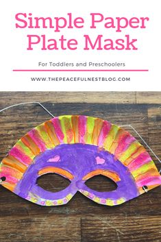 Simple paper plate mask craft Fun mask activity for toddlers Make a paper plate mask for preschoolers Hands on learning ideas for kids preschoolactivities handsonlearning easycrafts Craft Activities For Toddlers, Fun Crafts For Kids, Preschool Activities, Children Crafts, Summer Crafts, Easy Crafts, Paper Plate Masks, Paper Plate Crafts, Paper Plates