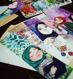 Pinterest: @çikolatadenizi Instagram: @halimenursevim Islamic Cartoon, Anime Muslim, Watercolor Sketch, Knitting Socks, Islamic Art, Girl Photography, My Images, Clip Art, Imam Reza