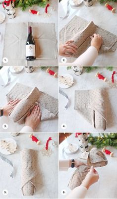 DIY Tea Towel Wine Wrap || how to gift wine at the holidays!