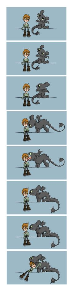 "Toothless and Hiccup, How to Train Your Dragon ""Aw, Babies"" by Elfpen.deviantart.com on @DeviantArt"