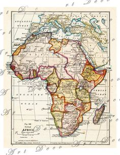1916 political map of the african continent vintage map of Africa 8x10 size collage sheet 250