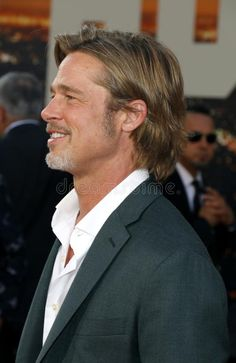 Photo about Brad Pitt at the Los Angeles premiere of `Once Upon a Time In Hollywood` held at the TCL Chinese Theatre IMAX in Hollywood, USA on July Image of gala, carpet, movie - 153957842 Hello Beautiful, Beautiful Men, Brad Pitt Pictures, Brad Pitt Hair, Hair And Beard Styles, Hair Styles, Boy Hairstyles, Celebs, Celebrities