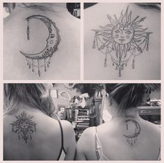 Sun and moon sister tattoos, definitely gonna have to get this since my sister and I are as different as day and night lol